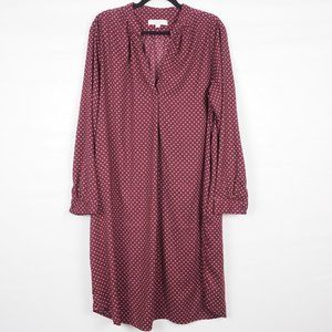 LOFT Long Sleeve Shirt Dress Floral Burgundy XLM